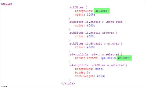 Sub Level Navigation SharePoint 2010 colors