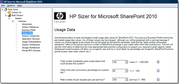 HP Sizer for SharePoint 2010