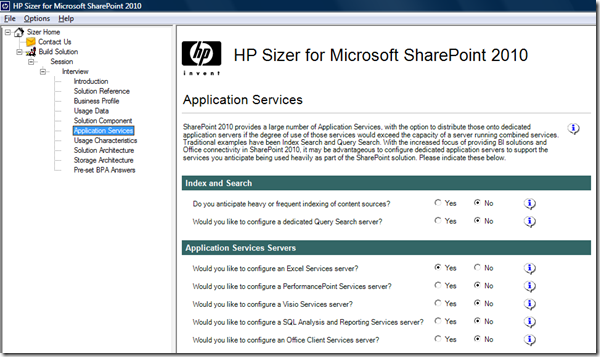 Application Services screen : SharePoint 2010 Sizer