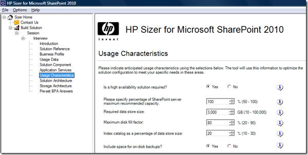 Usage Characteristics : SharePoint 2010 Sizer