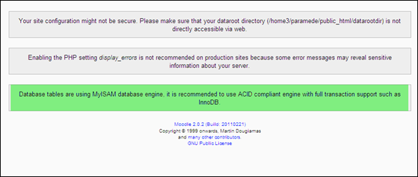 Moodle Error : Database tables are using MyISAM database engine