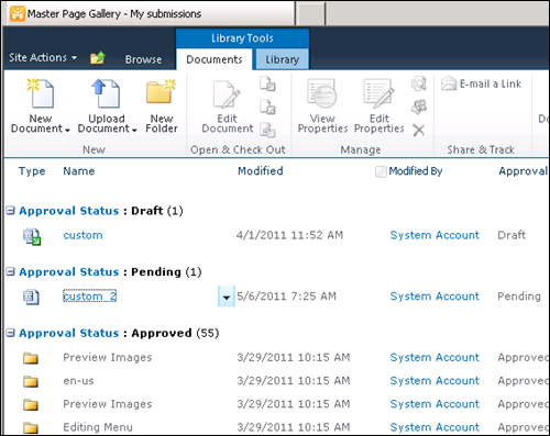 Approve Master Pages in SharePoint 2010