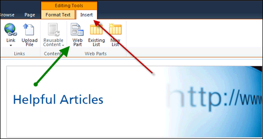 Adding Web Part in SharePoint 2010