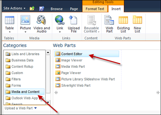 Media and Content, Content Editor Web Part