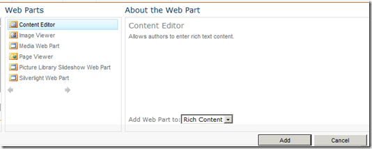 Adding Content Editor in SharePoint 2010