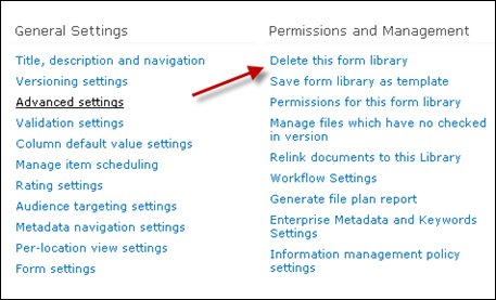 Delete SharePoint Library