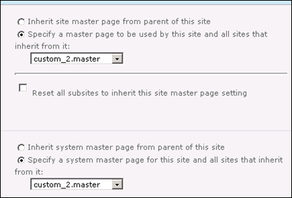 Selecting Master Page in SharePoint 2010