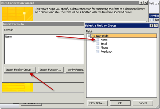 Insert Filed or Group in InfoPath Form 2010