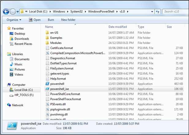 Open PowerShell_ISE in Windows 7