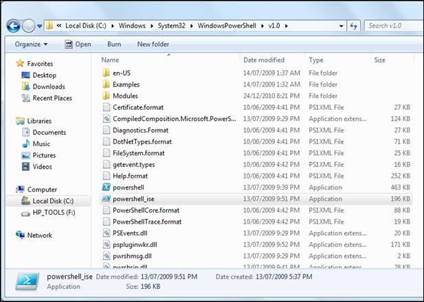 Open PowerShell_ISE in Windows 7