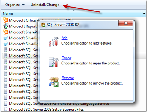 Remove/uninstall SQL 2008 Server