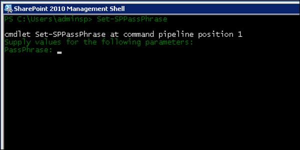 Change SharePoint 2010 Passphrase