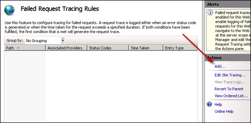 Adding Failed Request Tracing Rules for SharePoint 2010