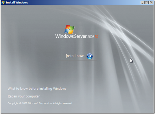 Click to Install Now for Windows 2008 Installation
