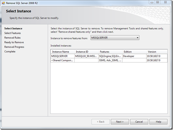 Select Instance to remove SQL Server 2008