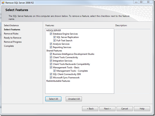 Select Features to Uninstall SQL 2008 Server