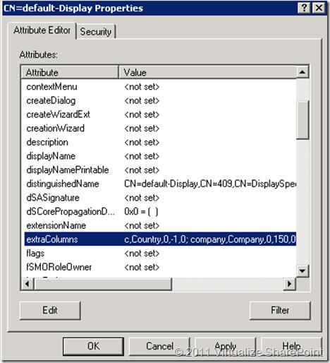 Default Display Properties,  extraColumns