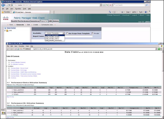 Cisco Fabric Manager Web Client report
