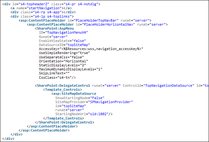 SharePoint Search Center Site to display top level navigation