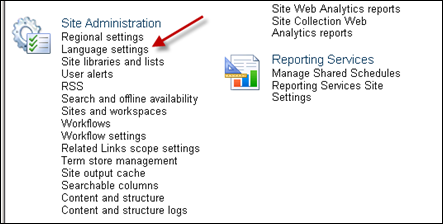 Language Setting for SharePoint 2010