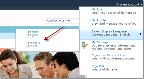 Selecting Display Language to French in SharePoint
