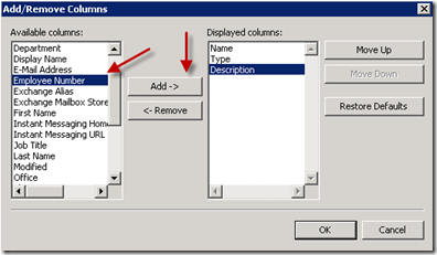 Select Employee Number and Add to Displayed Columns