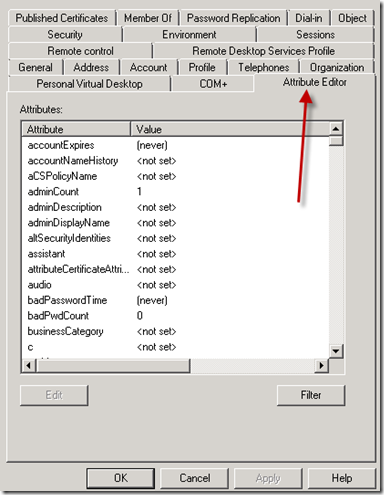 Enable Active Directory Attribute Editor