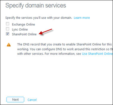 Specify domain services for Office 365