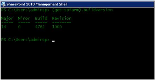 Get SharePoint 2010 Buildversion