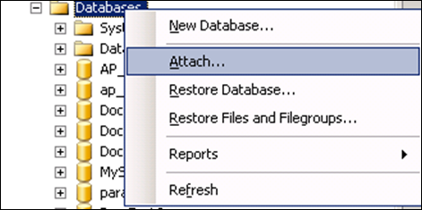 Attrach Database in SQL Server
