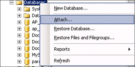 Attrach Database in SQL Server