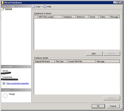 Attrach Database in SQL Server Add Files