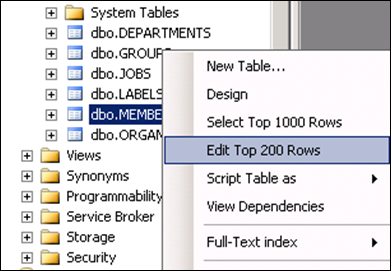 Open table in SQL 2008