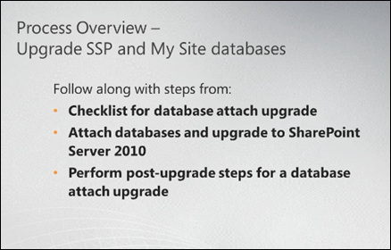 upgrade SharePoint 2007 SSPs and My Sites to SharePoint 2010