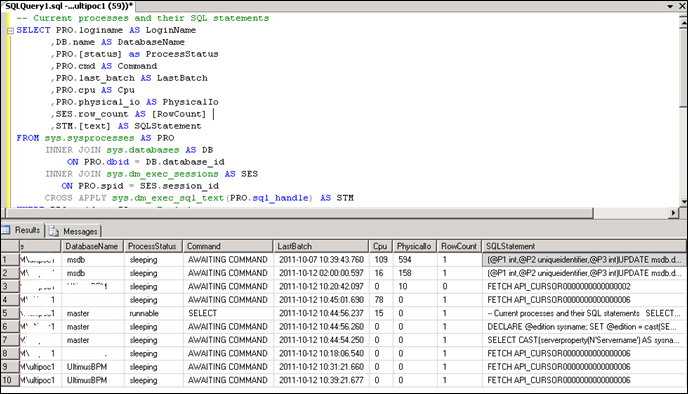 Checking SQL Server Current Status