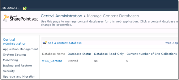 Manage Content Database in SharePoint 2010