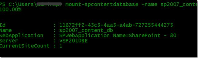 mount-spcontentdatabase completes