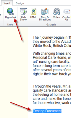 adding hyperlink to Office 365 document