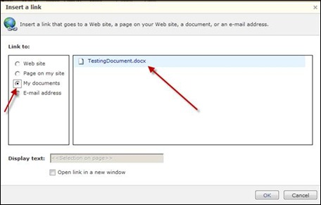 Insert a link to Office 365 document
