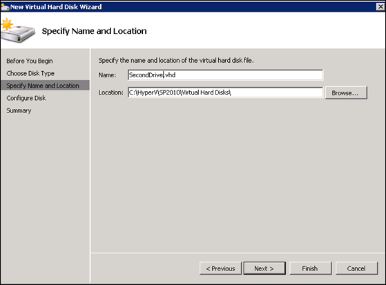 Specify  name and location for virtual hard disk
