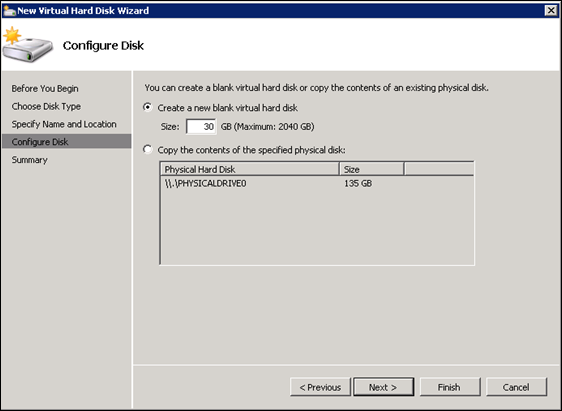 Configure Virtual Hard Disk HyperV