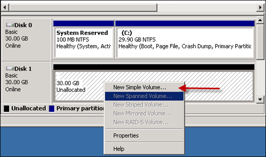 Creating Simple Volume in Windows 2008