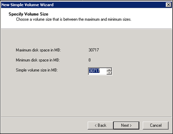 Specify Volume Size in Windows 2008