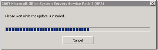SharePoint 2007 SP3 Installation in process