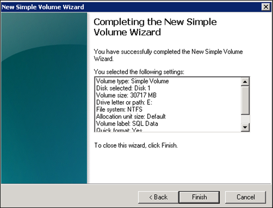 new volume wizard windows 2008
