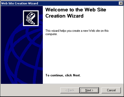Web Site creation wizard IIS 6