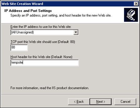 IP address and Port Settings in IIS6