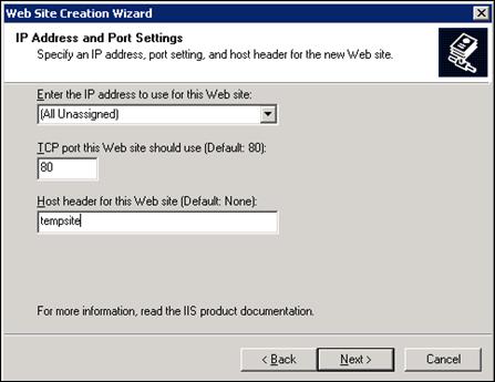 IP address and Port Settings in IIS6