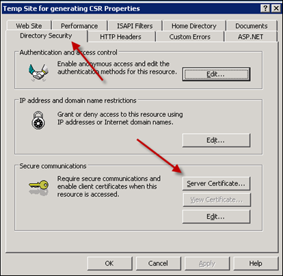 Getting Server Certificate in IIS