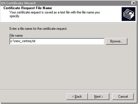 Certificate Request File Name